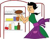 retro mom in kitchen