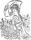 Geisha with Umbrella