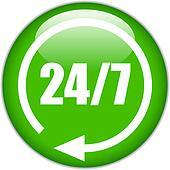 Vector 24 hour green button