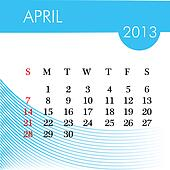 calendar for 2013 april illustration