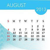 calendar for 2013 august illustration