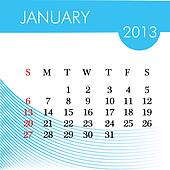 calendar for 2013 january illustration