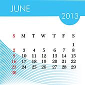 calendar for 2013 june illustration