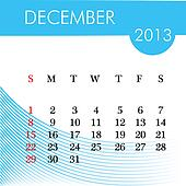 calendar for 2013 december illustration