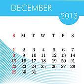 calendar for 2013 december illustration