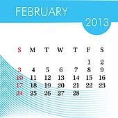calendar for 2013 february illustration