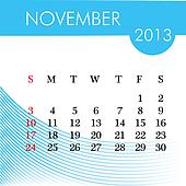 calendar for 2013 november illustration