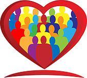 Temwork heart people logo