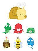 Animal Set   Slug, Crocodile,Octopu
