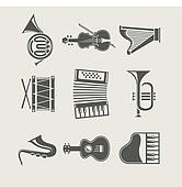 musical instruments set of icons
