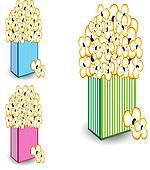Popcorn in multi-colored striped