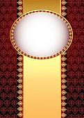 seamless brown background with band and frame with gold(en) patt