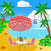 sea beach with palm by sailboat chair and umbrella