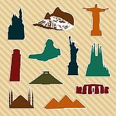 World landmark silhouettes
