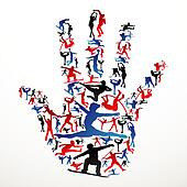 Sports silhouettes hand