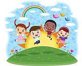 Multicultural children jumping