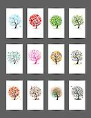12 cards with trees design. Season holiday