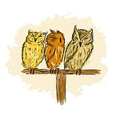 Sketch of funny owls for your design