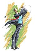 Business Man playing Golf