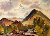 Mountain landscape painted by watercolor in Zamulta village, Altai Mountains