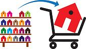 Concept of buying a house or property on sale. The shopping trol