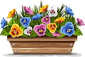 Wooden flower pot with pansies