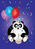 Happy Birthday Panda Bear Illustration