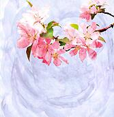 spring trees blossom watercolor illustration