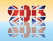 New Year 2013 London England Flag Illustration