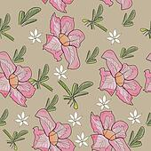 Seamless texture with tropical pink flower.
