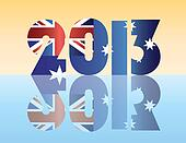 New Year 2013 Australia Flag Illustration