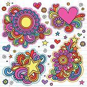 Flower Power Groovy Doodles Vectors