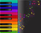 colorful piano keyboard with musical notes on a black bac