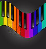 colorful piano keyboard in the form of waves on a black b