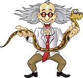 Funny Scientist Holding Snake