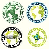 Grunge eco friendly seal set