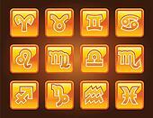 Set gold zodiac icons