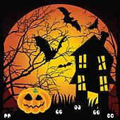 Halloween night haunted house with