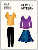 Sewing Pattern, Tops, Pants, Skirt