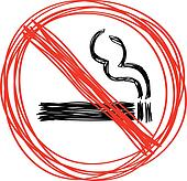 Hand drawn no smoking sign