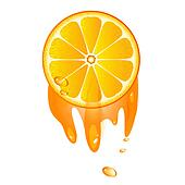 Juicy slice of orange fruit