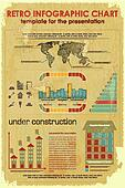 Retro Infographic Chart with construction icons