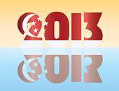 New Year 2013 Singapore Flag Illustration