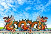 Yellow Dragon on blue sky background