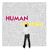 Business man  building word cloud for human resources concept