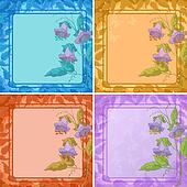 Flowers, leaves frame and butterfly