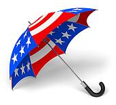 Umbrella with US national flag