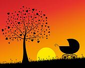 Baby carriage and tree with hearts