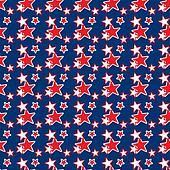 Seamless Red & White Stars on Blue