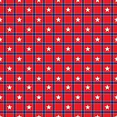 Seamless Stars on Red & Navy Plaid